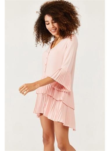 XHAN Pembe Eteği Pileli Elbise 1Kxk6-44568-20 Pembe